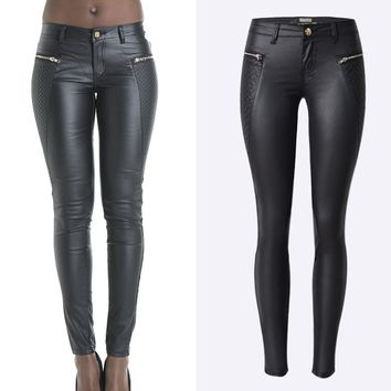 2016 New Fashion Sexy Mid Waist Women Zippers Patchwork Skinny Pencil Long Length Jeggings Stretch Women Leather Pants trousers