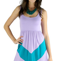 Sleeveless Chevron Short Dress - Lilac/Jade