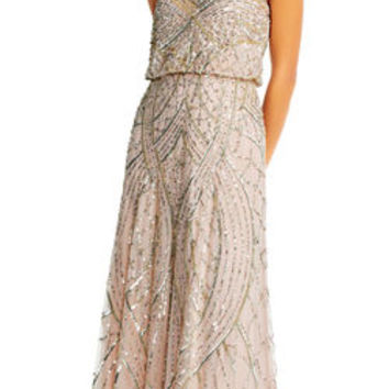 Beaded Blouson Gown with Sweetheart Neckline