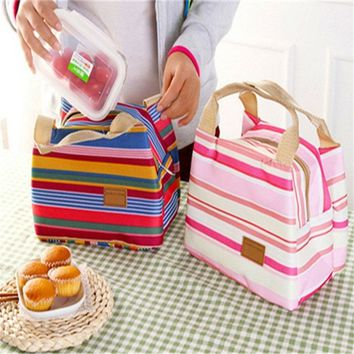Insulated Cold Canvas Stripe Picnic Totes Carry Case Hot Sale Thermal Portable Lunch Bag