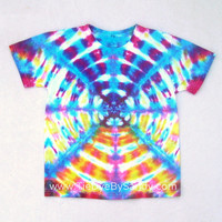 Child Medium Tie Dye Shirt- Blue Yellow and Pink Radio Wave