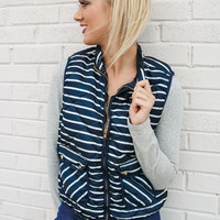 Vest Day Ever Navy Striped Quilted Puffer Vest