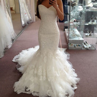 New Arrival Cheap Wedding Gown with Long Train Sweetheart High Quality Plus Size Real Mermaid Bridal Wedding Dresses 2017 Lace