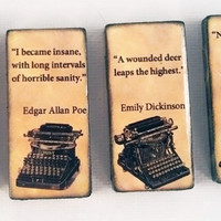 Literary Masters Great Works Quotes Book Lovers Refrigerator Fridge Ceramic Magnet Set Dickens, Dickinson, Poe, and Whitman