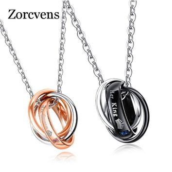 ZORCVENS New Fashion Letter Her King His Queen Hole Pendant Necklace Couple Charm Link Chain Necklace For Women
