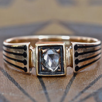 Unique Engagement Ring-Antique Engagement Ring-Victorian Engagement Ring - Rose Cut Diamond Ring-Vintage Wedding Rings-1800s Engagement Ring