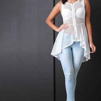 Fishnet Zip-Up Sleeveless High Low Peplum Top