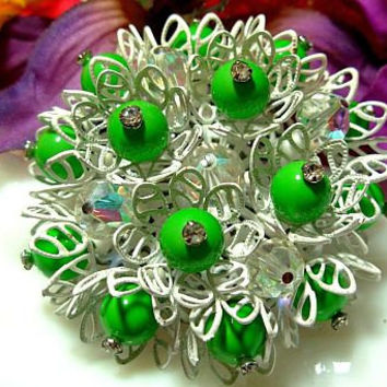"""Vintage Vendome Brooch Pin Signed Green & Crystal Beads White Enamel Layered 2 1/4"""" VG"""