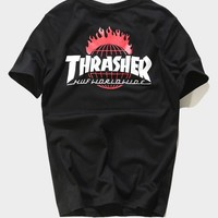cc qiyif HUF x Thrasher Black Worldwide T-Shirt