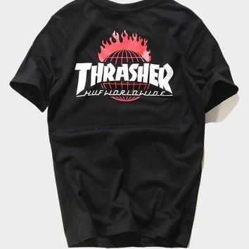 cc kuyou HUF x Thrasher Black Worldwide T-Shirt