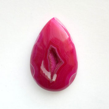 Fuchsia Pink Druzy Agate Cabochon 50mm Drusy Stone Pear Shape Cab Natural Stone Setting Jewelry Supply Geode Cabochon Pink Stone Loose Cabs