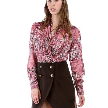 PINK ANIMAL V-NECK DRESS WITH BUTTONED FLEECE TULIP SKIRT JL258 - Small
