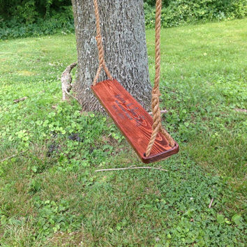 Tree swing double wide personalized rope stained