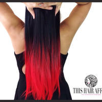 """Dip Dyed Hair Extensions - Ombre Hair Extensions - 22"""" Red Ombre Clip In Hair Extension - Black to Red Balayge Hair"""