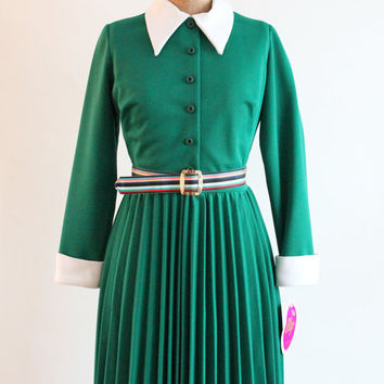 60s day dress - green and white accordion pleated dress - nwt