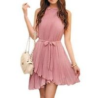 Allegra K Women Pleated Sleeveless Summer Chiffon Short Party Dress