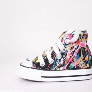 ICIKGQ8 baby black high top splatter painted converse sneakers baby size 3 bright lights big