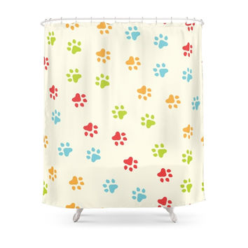 Society6 Animal Paw Prints Shower Curtains