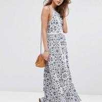 ASOS Tile Print Tiered Maxi with Lace Trim at asos.com