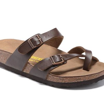 Newest Hot Sale Mayari Birkenstock 805 Summer Fashion Leather Beach Lovers Slippers Casual Sandals For Women Men Couples Slippers color Brown size 34-45