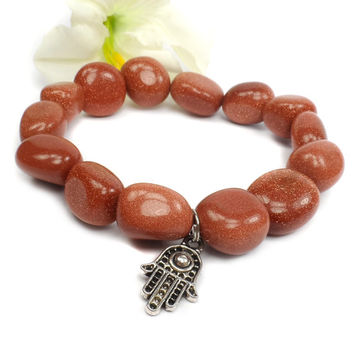 Goldstone Charm Bracelet, Sparkling Copper Bracelet, Stretch Bracelet, Protection Stone