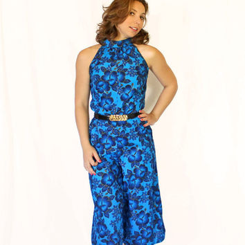 Vintage Jumpsuit. 70s Halter Romper. Sapphire Blue Gold  Teal Floral Print. One Piece. Culottes. Mad Men Fashion