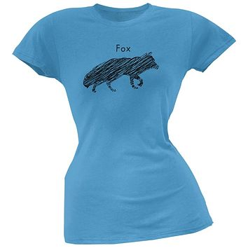 Fox Scribble Drawing Light Blue Juniors Soft T-Shirt