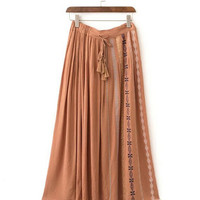 Ethnic Colored Embroidery Skirt  Women Straggy tassel High Waist Cotton Linen Maxi Skirt Femme