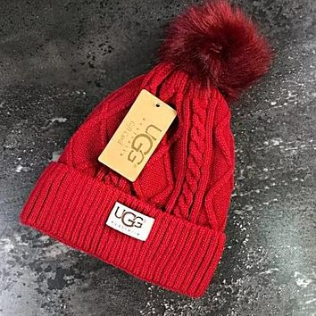 UGG Winter Stylish Women Men Cute Warm Knit Velvet Hat Cap Red