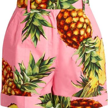 _Plus Size Women's Casual Pink Pineapple Printed Shorts