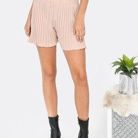 Pleated High Waist Shorts TAUPE -SheIn(Sheinside)