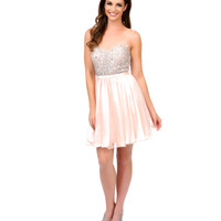 Peach Illusion Rhinestone Beaded Chiffon Short Dress 2015 Homecoming Dresses