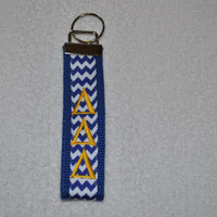Delta Delta Delta Sorority (OFFICIAL LICENSED PRODUCT) Monogrammed/Embroidery Key Fob Keychain Cotton Webbing Ribbon Wristlet