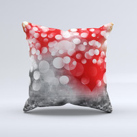 Bright Unfocused White & Red Love Dots ink-Fuzed Decorative Throw Pillow
