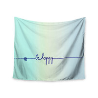 "Monika Strigel ""Be Happy Aqua"" Simple Blue Wall Tapestry"
