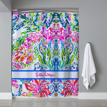 Lilly Pulitzer Coral Stripe Custom Shower Curtain Limited Edition