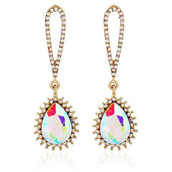 Banquet Cut Out Rhinestone Inlay Teardrop Pendant Earrings
