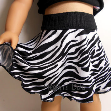American Girl Doll Skirt, Swing Skirt, black and white zebra