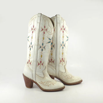 White Cowboy Boots Vintage 1980s Tall Inlay Dingo Acme Western Women's size 7