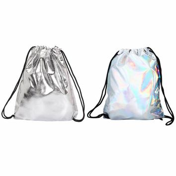 Drawstring Backpacks Unisex Silver Schoolbags Soft PU Leather Storage Pouch Shoulder Bag Daypack Mochila Teen Rucksack