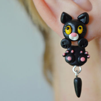 black cat earrings,halloween earrings,animal jewelry,dangling earrings,clinging earrings,ear jackets,front back earring,double side earring