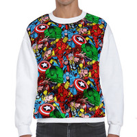 Super Hero Marvel Comic Print Patched Unisex Fleece Sweatshirt