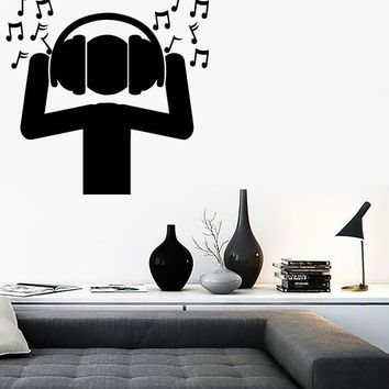 Large Vinyl Decal Fan DJ Music Headphones Sound Waves Notes Wall Sticker (n605)