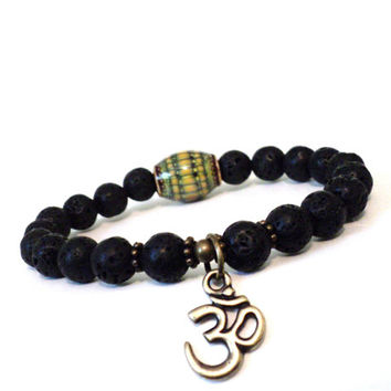 Mood Bead Mala Bracelet Om Jewelry Color Changing Spiritual Black Lava Rock Unique Stocking Stuffer Christmas Gifts For Her or Him
