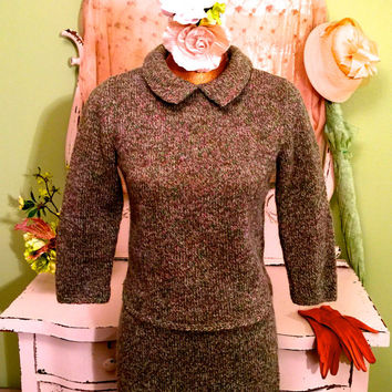 1960s 50s Sweater Skirt Set, Green Hand Knit, Retro Jackie O Style, Pencil Skirt Set, Vintage Wool Knit, Rustic Boho Clothes, Small Medium