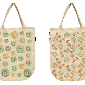 Women Seamless Food Patterns Printed Canvas Tote Shoulder Bags WAS_39
