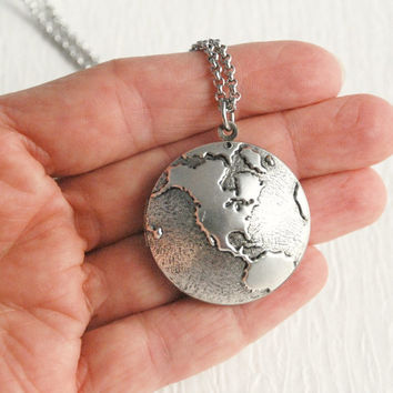 Earth Locket Necklace, silver vintage old map world globe travel photo pendant Birthday Mother's Day Graduation Christmas Gift