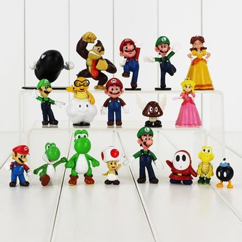 Super Mario party nes switch 18pcs/lot  Figure Toy Luigi Toad Yoshi Princess Peach Donkeykong DK Goomba Shy Guy Troopa Bullet  Mini Model Doll AT_80_8