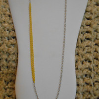 30 inch long Single Silver and Yellow Chain Layering Necklace