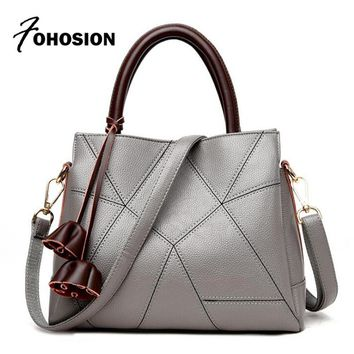 FOHOSION brands designer women leather handbags fashionable patchwork  Ladies Hand Bag Tote Luxury High Quality Shoulder Bags